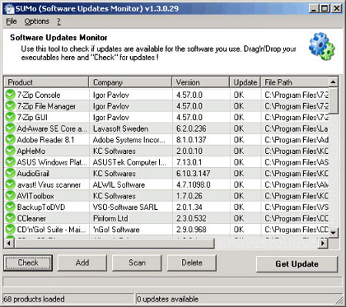 Скриншот к Software Update Monitor 1.3.0.29